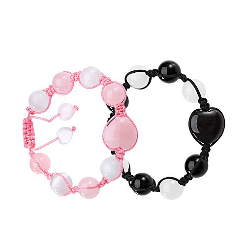 Yin Yang Hearts Love Couples or Best Friends Magic Agate Rose Quartz White Simulated Cats Eye Bracelets