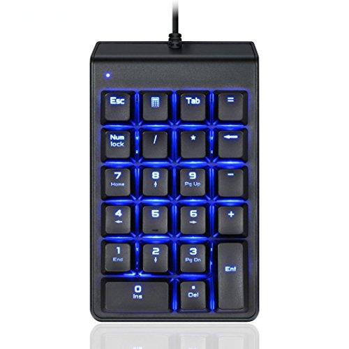 Motospeed Mini Mechanical Numeric Keypad, Ounice 22 Keys Ice Blue light Gaming Keypad Backlight Keyboards for Gamer Computers (Black) by Ounice