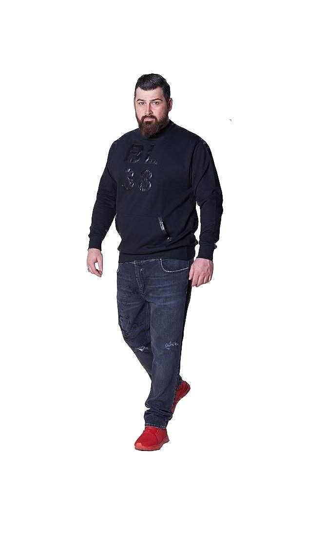 BL.38 Herren Jumper Sweatshirt Schwarz Schwarz