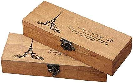 Auch - Juego de 2 estuches de madera para lápices, estuches y lápices, con cerradura de metal: Amazon.es: Oficina y papelería