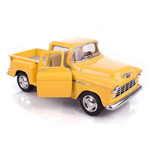 (Yellow 1955 Chevy Stepside Pick-Up Die Cast Collectible Toy Truck by Kinsmart)