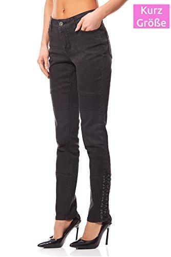 Arizona Biker Jeans Femme Court Gris