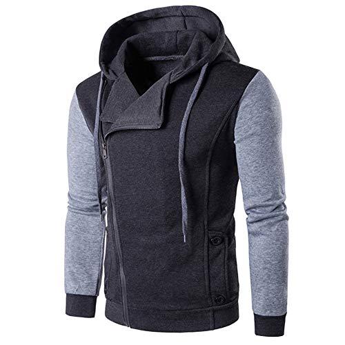 TUSANG Men Casual Long Sleeve Autumn Winter Patchwork Zipper Sweatshirt Hooded Top Blouse Coat(Dark Gray,2XL)