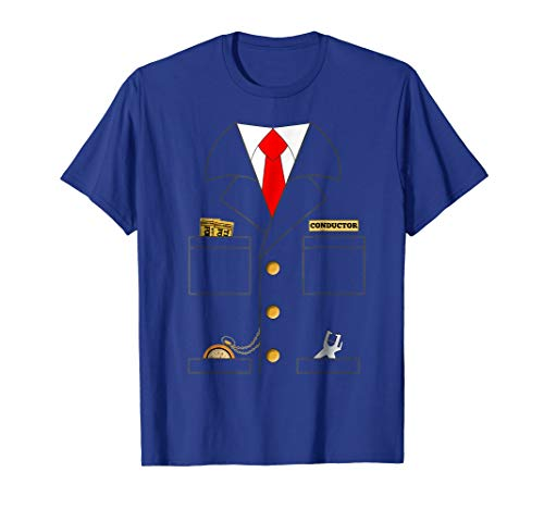 Mens Train Conductor Shirt Costume | Adults | Kids Large Royal Blue