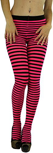 ToBeInStyle Women's Colorful Opaque Striped Tights Pantyhose Stocking
