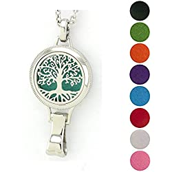JOYMIAO 316L 8 Pads Essential Oil Diffuser Stainless Steel Necklace with 3000 GS Magnetic Lanyard Locket Set ID Badge Holder