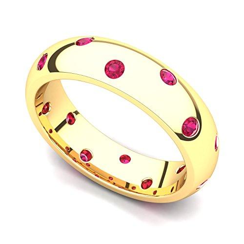 14k Yellow Gold Bezel set Ruby Semi Eternity Band Ring, 7.5 14k Yellow Gold Semi Bezel