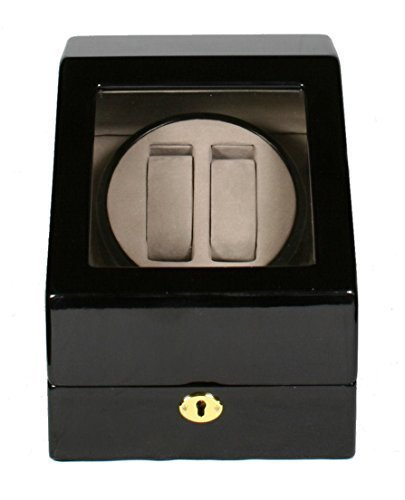 Kendal Black Double Automatic Wood Watch Winder 3 storages