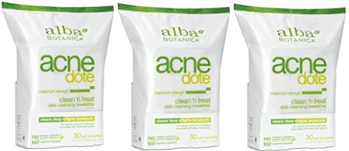 Price comparison product image Alba Botanica Natural Acne-dote, Acne Medication, Clean 'n Treat, Maximum Strength Daily Cleaning Towelettes - 30 CT (Pack of 3)