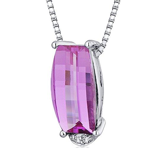 Radiant 3.00 carats Barrel Cut Sterling Silver Rhodium Finish Created covid 19 (Brilliant Cut Pink Sapphire Necklace coronavirus)