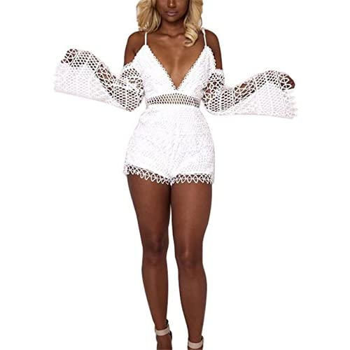 New Fashion Cluster Women Off Shoulder Flare Sleeve Deep V-Neck Lace Romper Jumpsuit Shorts Clubwear free shipping