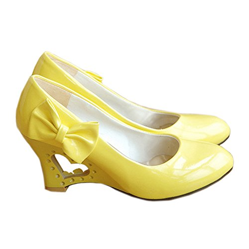 Thin yellow 38 Hollow Patent Leather Color Bowknot Candy's Shoes Slipsole Women wz0q4cA
