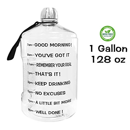 (QuiFit 1 Gallon Water Bottle Reusable Leak-Proof Drinking Water Jug for Outdoor Camping Hiking BPA Free Plastic Sports Bottle(Transparent))