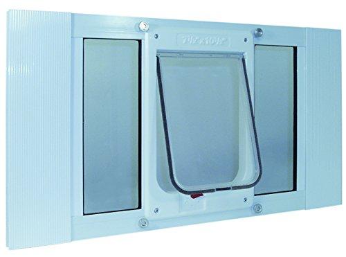 Ideal Sash Window Pet Door ChubbyKat White - Flap size 7 3/4'' x 10 1/4'' - Fits window widths 23''-28'' by Window Sash Chubby Cat Pet Door