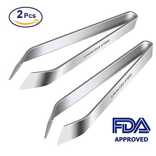 BeeHomePower Kitchen Tweezers Stainless Steel, Tweezers for Fish Bones, Non-Slip, Precision Grip, Fish Tweezers, Fishbone Pliers, Kitchen Pliers Pincer Seafood Tools, Fish Bone Tweezers Set, 2 Pcs (Set Salmon)