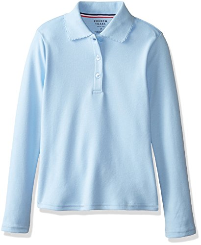 [French Toast Big Girls' Long Sleeve Interlock Polo with Picot Collar, Light Blue, 12] (French Toast Long Sleeve Polo Shirt)