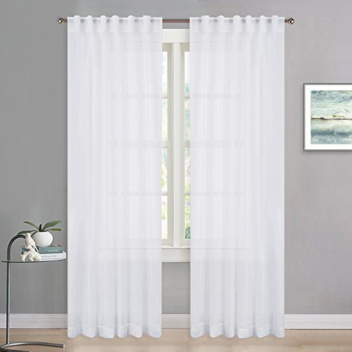 (RYB HOME Extra Long White Sheer Curtains for Christmas Decor, Bleaching Voile Privacy Sheer Window Treatment Drapes for New Year/Living Room/Bedroom, Width 54 in by Length 95 in, Set of 2)