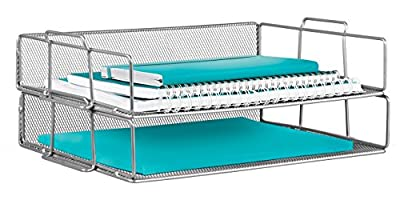 Mindspace 2 Tier Stackable Letter Tray Desk Organizer | The Mesh Collection
