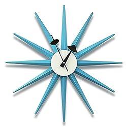 Classic Wooden Sunburst Wall Clock, Contemporary George Nelson Series Designed, Mid Century Handmade Antique 3D Star Burst Wall Clock, No Ticking Modern Quartz Decor Watch, 48Cm/19'',Blue
