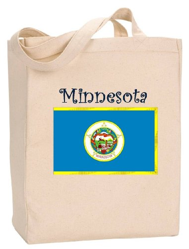 MINNESOTA - FLAG - State Series - Natural Canvas Tote Bag with - Duluth Mall Shopping
