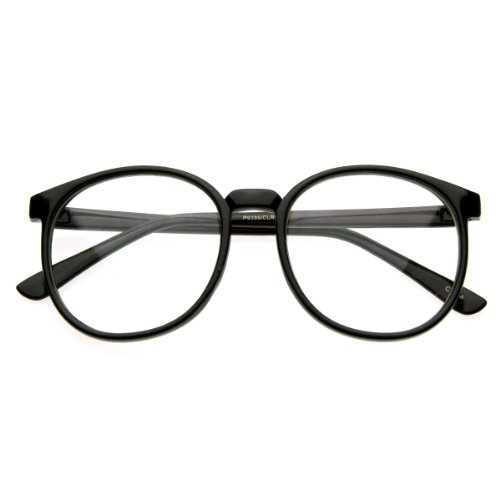zeroUV - Vintage Inspired Round Circle Spectacles Clear Lens Horn Rimmed P-3 Glasses - Round Men Spectacles