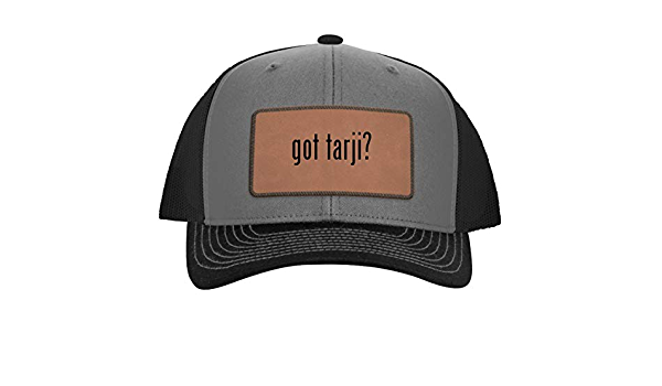 One Legging it Around got roberick? Leather Grey Patch Engraved Trucker Hat