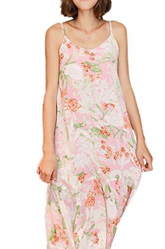 Mujeres sin mangas vestido floral Slip diariamente camisones 9739