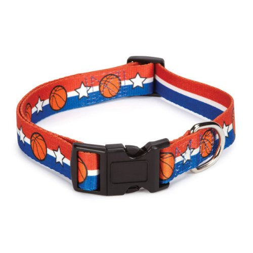 Casual Canine Polyester All-Star Dog Collar, 6 to 10-Inch, Basketball