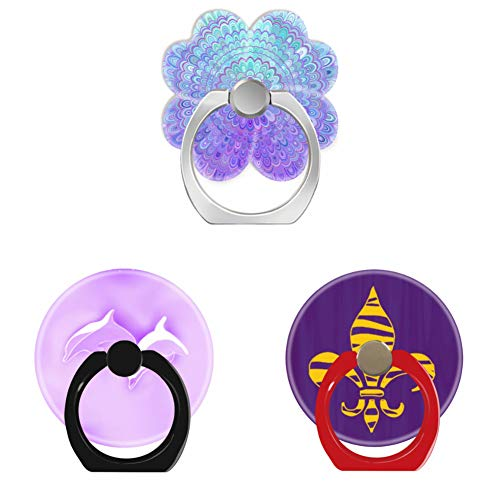 Bsxeos 360°Rotation Cell Phone Holder with Car Mount Work for Smartphones-Dolphins Jumping Through Pink Clouds-Gold Tiger Stripe Fleur de lis Purple-Mandala Flower in Light Blue and Purple(3 Pack)