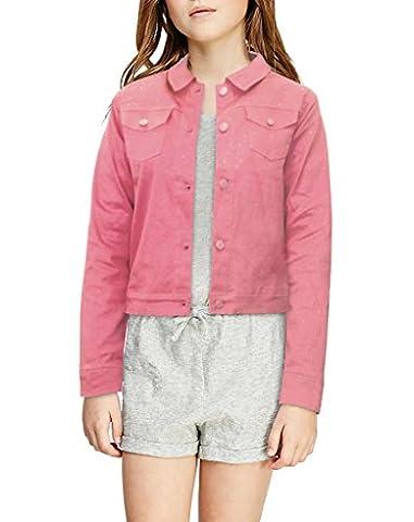 Crest Jeans Girls Glitter Floral Jacket GJK21960BR A PINK L1214 - Girls Pink Floral Denim