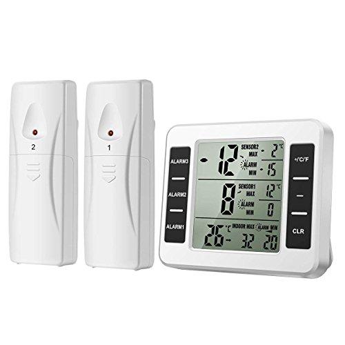 AMIR デジタル温度計 電池式 冷蔵庫温度計 大画面 2つの送信機付き 3つのアラームタイム設置可能 最高最低温度 温度傾向図表示 置き掛け両用タイプ マグネット付 白