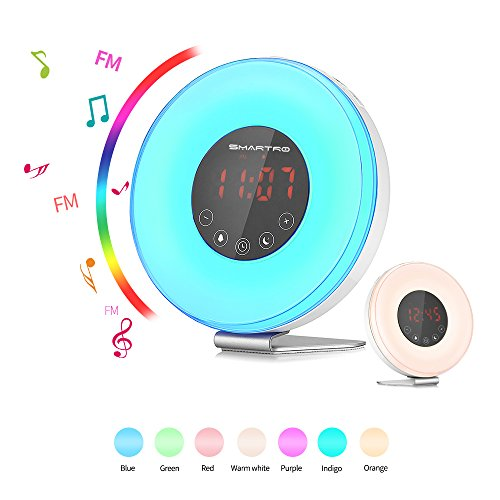 Alarm Clock, SMARTRO 2018 Digital Alarm Clock Radio with Colored Sunrise Simulation, Wake up Light 7 Colors, Nature Sounds, FM Radio, Touch Control for Bedrooms & Kids