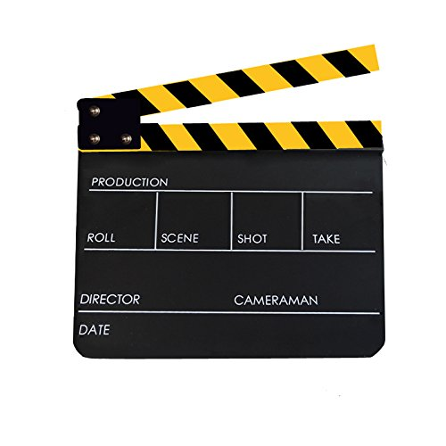 Professional Acrylic Clapper Board Slate 9.6x11.7''/25x30cm With Black/Yellow Sticks For TV Film Home Movie Action Scene Director Film Clapboard, Black by Coolbuy112