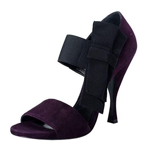 Prada Women's Purple Suede Leather Open Toe High Heel Pumps Shoes US 8.5 IT - Pradas Purple