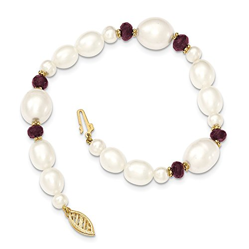 14k Yellow Gold White Freshwater Cultured Pearl Faceted 4.0 Red Garnet Bead Bracelet 7.25 Inch Fine Jewelry Gifts For Women For Her