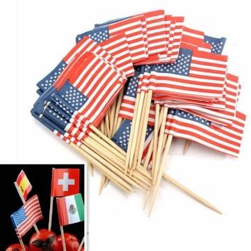 UR Bakeware 50Pcs Birthday Party American USA Flag Cupcake Topper (American Flag Cupcake Picks)