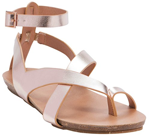 Cambridge Select Women's Crisscross Thong Buckled Ankle Strappy Flat Sandal (8 B(M) US, Rose Gold PU) by Cambridge Select (Image #2)