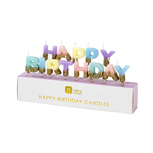 """Talking Tables Bday HB Happy Birthday Candles Cake Topper, Wax Height 2cm, 0.8"""", Gold And Pastel colors"""