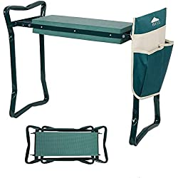 Dporticus 2 in 1 Foldable Gardening Kneeler Seat Bench Portable Stool with EVA Kneeling Pad