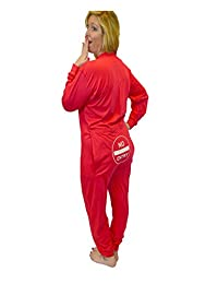 """Red Union Suit Onesie Pajamas with Funny Butt Flap """"NO ENTRY"""""""