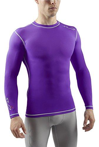 SUB DUAL Mens Compression Top - Long Sleeve All Season Base Layer - Purple - M