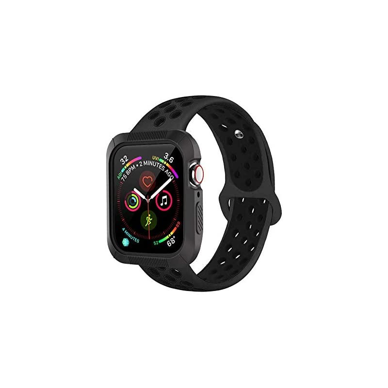 BRG Compatible with Apple Watch Band 38mm 42mm with Case, Shock-Proof Protective Case Silicone Sport Replacement iWatch Band Compatible with Apple Watch Series 3/2/1