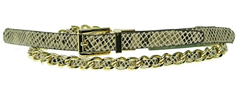 Calvin Klein Women's Reversible Chain Belt, Natural, L