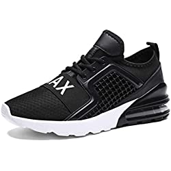 RUMPRA Mens Fashion Sneakers Breathable Sport Walking Tennis Running Shoes Fitness Gym Casual Athletic(Black-A,43)