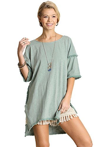c514e17bc15 Umgee Textured Knit Tunic with Fringe Accents (Medium, Dusty Mint)