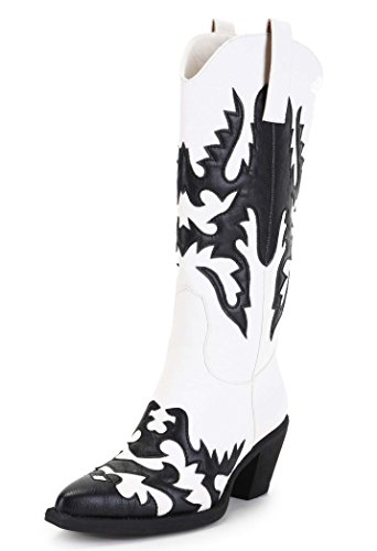ANN CREEK Women's 'Claremont' Texture Patch Boots Black/White