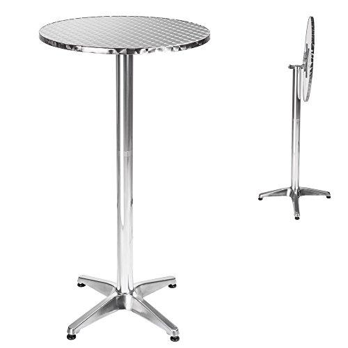 TecTake Aluminium Bistrotisch klappbar rund höhenverstellbar 74cm oder 114cm Ø 60cm - Standrohr Ø: 5,8 cm - 8,3 kg