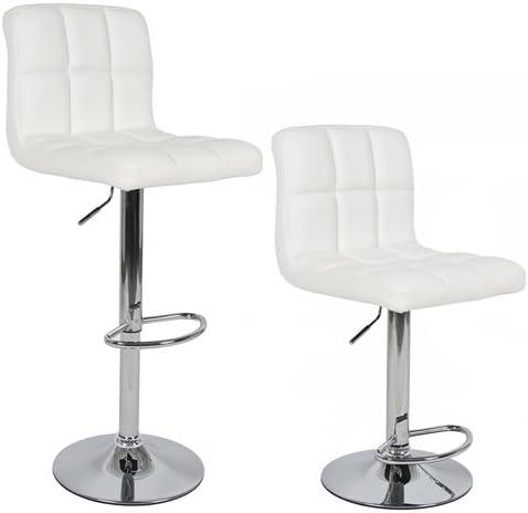 Modern Set of 2 Brand New White Swivel Leather Bar Stool Pub Barstool