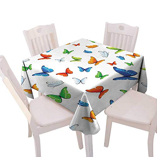Spring & Summber Tablecloth Dinner Picnic Cloth Home Decoration,(W54 x L54) Butterflies Decoration Butterflies Animal Clipart Ecology Environment Joyful Design Cartoon Tropics.