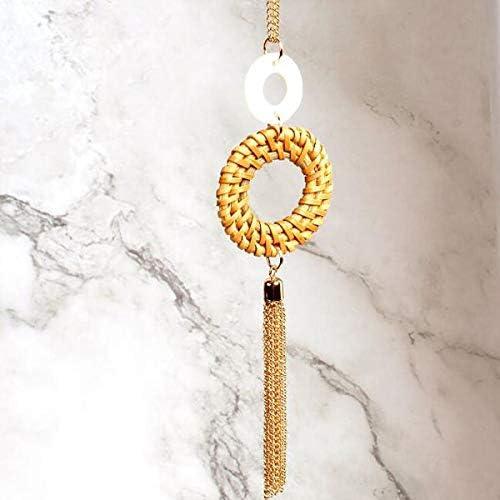 Gostear Round Wicker Weave Pendant Sweater Necklace Long Chain Tassel for Women Girls Fashion Jewelry
